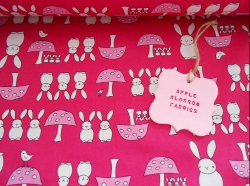 Bunnies and Toadstools Pink 100% Cotton