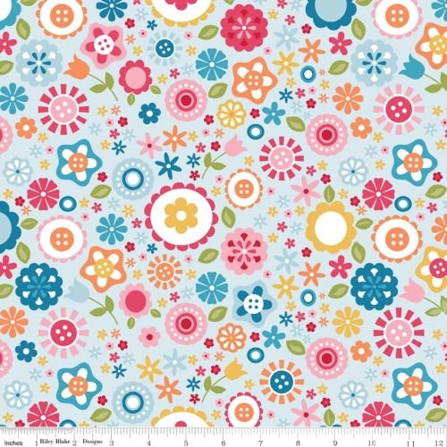 Fine and Dandy Floral Blue by Riley Blake 100% Cotton