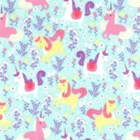 Princess Unicorn Frolic Seafoam by Michael Miller Fabrics 100% Cotton 100 x 112 cm