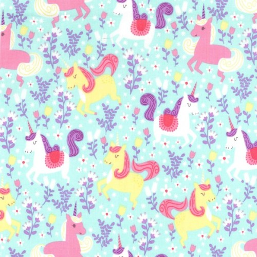 Princess Unicorn Frolic Seafoam by Michael Miller Fabrics 100% Cotton