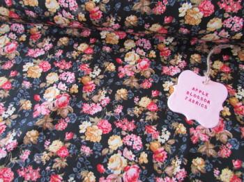 Floral Bloom on Black 100% Cotton