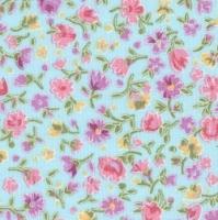 Petite Petals on Sky Blue 100% Cotton