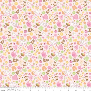 Sweet Baby Girl Friends Pink by Riley Blake 100% Cotton 31 x 106 cm