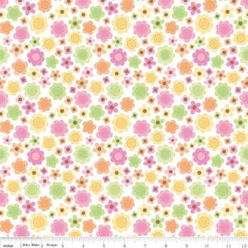 Sweet Baby Girl Flowers White by Riley Blake 100% Cotton 29 x 110 cm