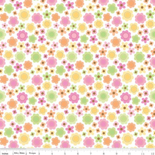 Sweet Baby Girl Flowers White by Riley Blake 100% Cotton