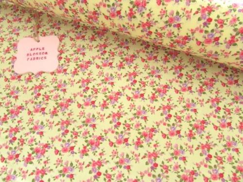 Lottie Mini Floral on Lemon 100% Cotton