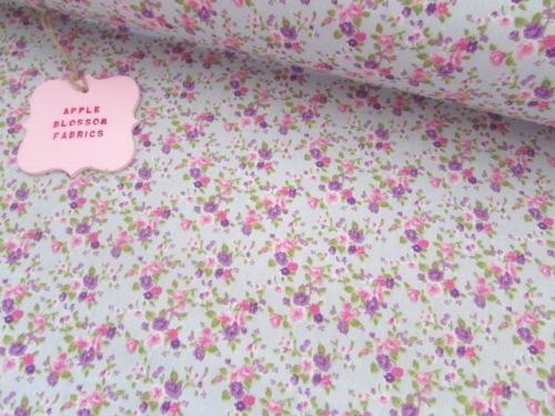 Lottie Mini Floral on Silver 100% Cotton
