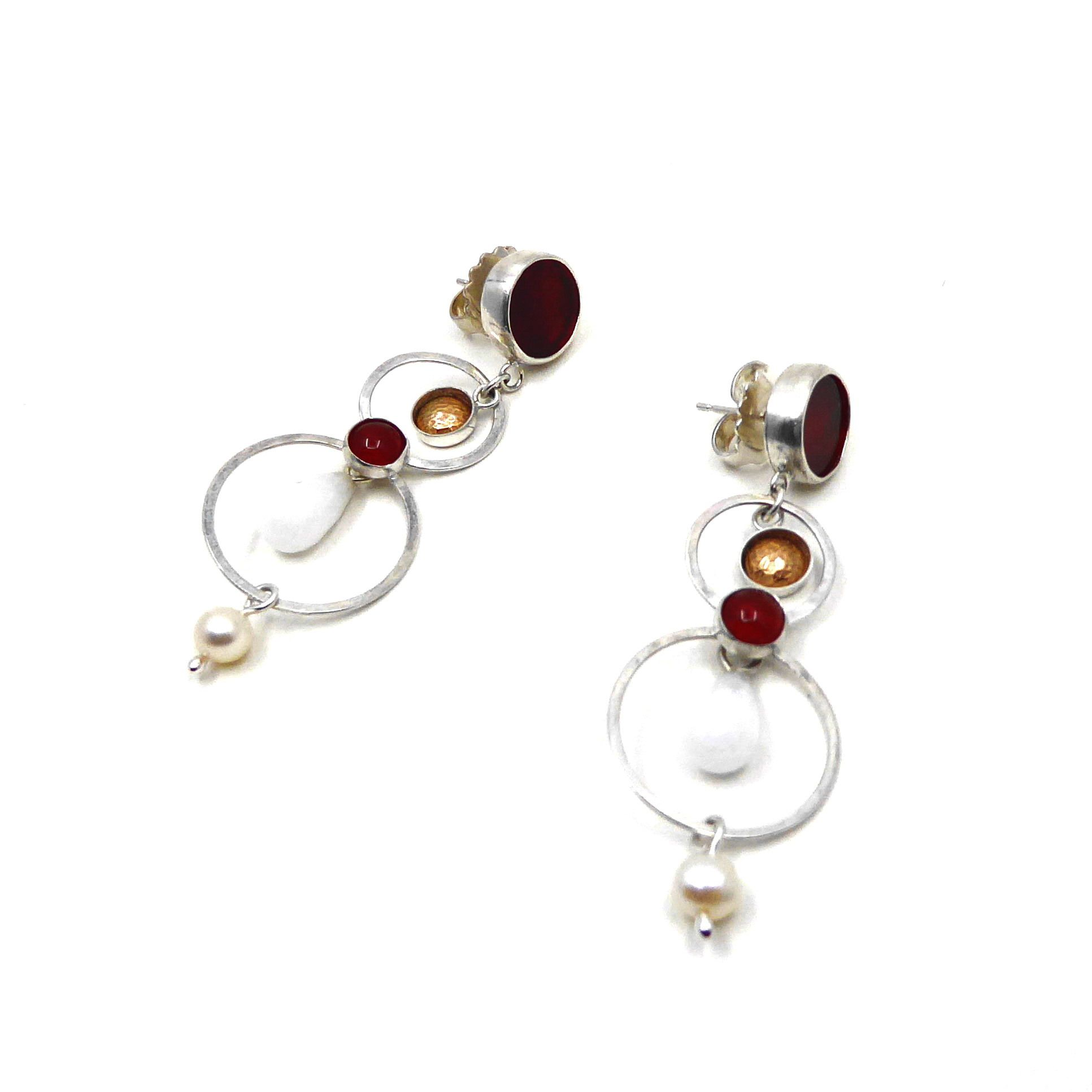 Silver earrings with 14ct gold filled domes,  lapis lazuli, facet-cut quartz crystal and pearls