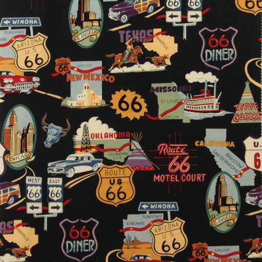 Alexander Henry ROUTE 66 Fabric - Black