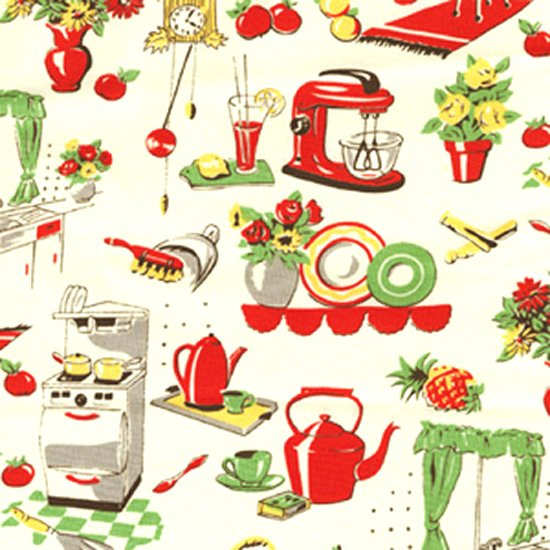 Michael Miller FIFTIES KITCHEN Fabric - Cream