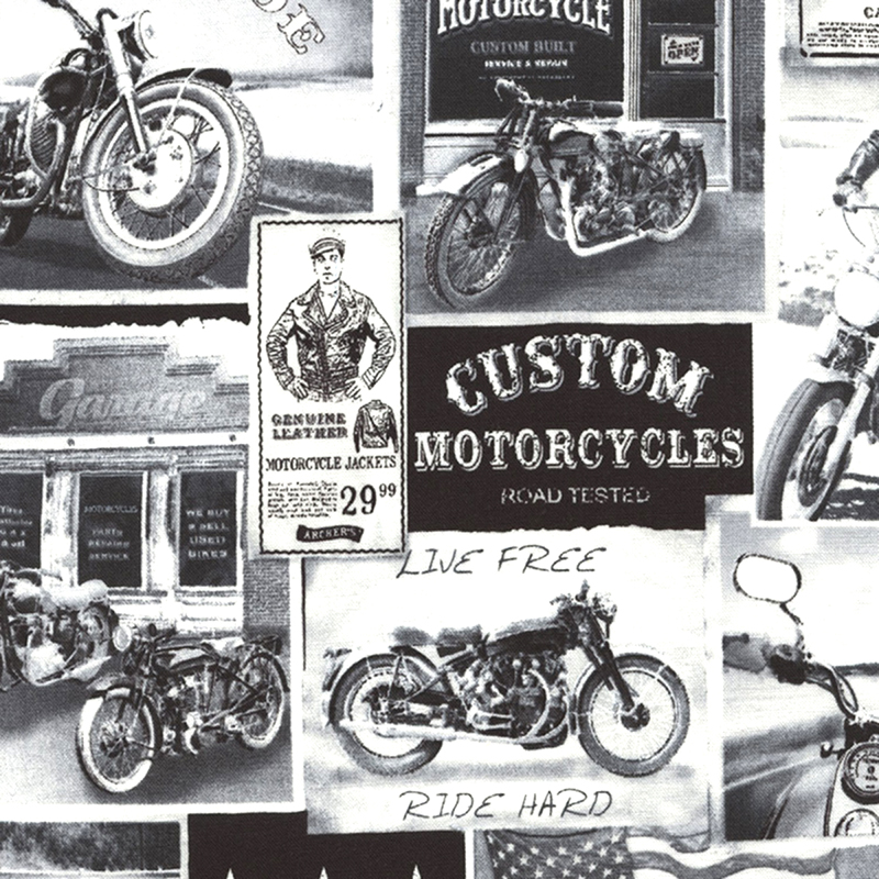 Timeless Treasures VINTAGE MOTORCYCLE NEWS Fabric - White