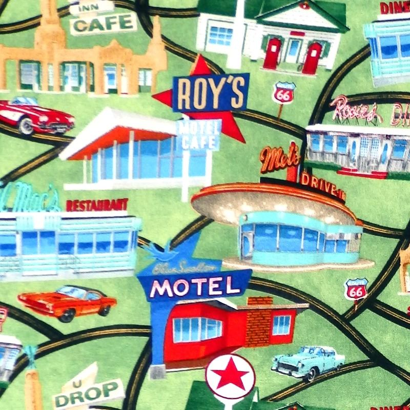Timeless Treasures  ROADSIDE ATTRACTIONS Fabric - Green