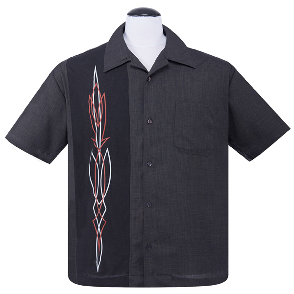 Steady Clothing Hot Rod Pinstripe Button Up Shirt - Charcoal