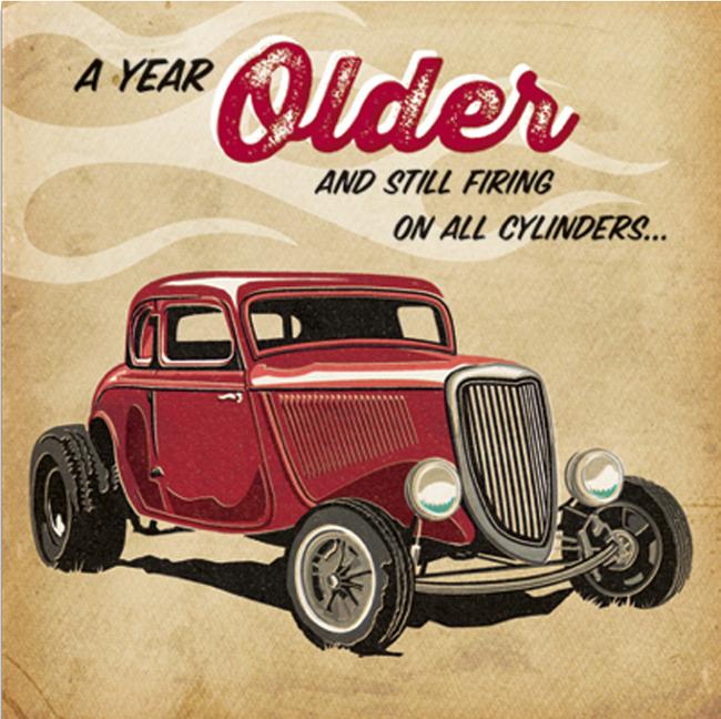 'Firing on all Cylinders' Birthday Card
