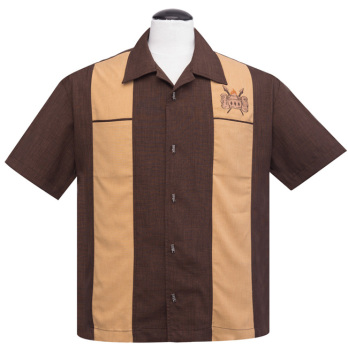 Steady Clothing Volcano Bowl Double Panel Button Up Shirt - Brown