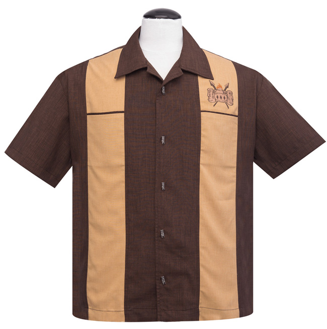 Steady Classic Volcano Bowl Double Panel Button Up Shirt - Brown