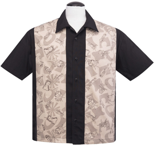 Steady Clothing Rum Tiki Panel Button Up Shirt - Black