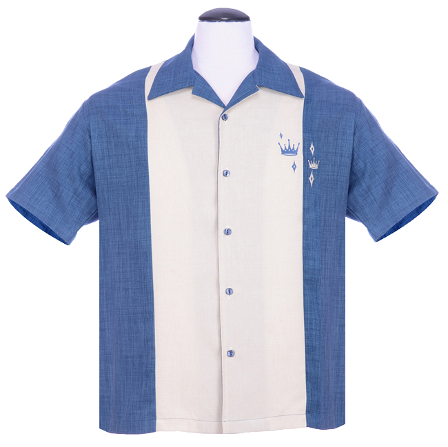 Steady Clothing Contrast Crown Button Up Shirt - Blue