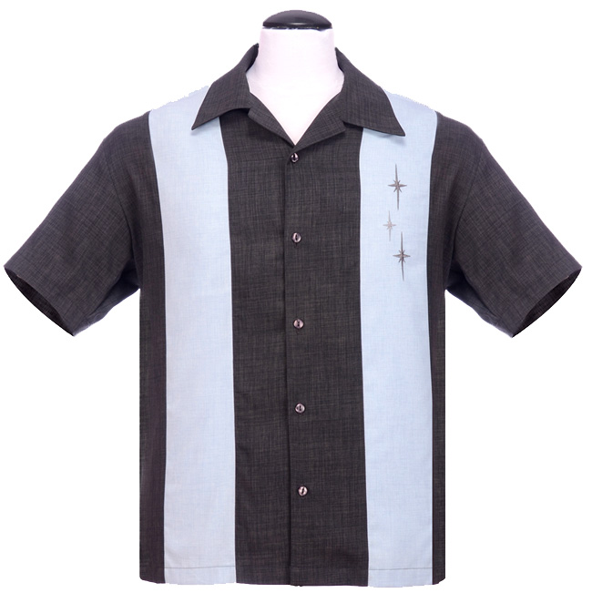 Steady Clothing Three Star Panel Button Up Shirt - Charcoal
