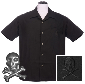 Steady Clothing Skull Button Up Shirt - Black