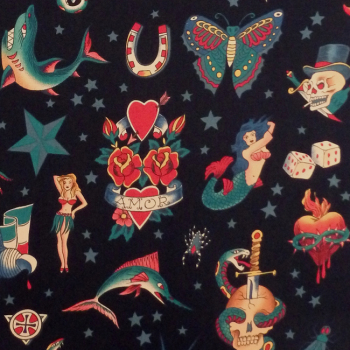 Alexander Henry TATTOO Fabric - Black