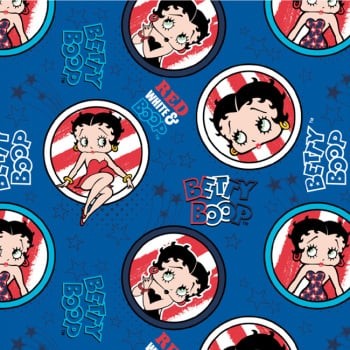Camelot Betty Boop RED, WHITE & BOOP Badge Fabric - Blue