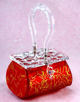 Deluree Marquee Lucite Purse - Atomic Red