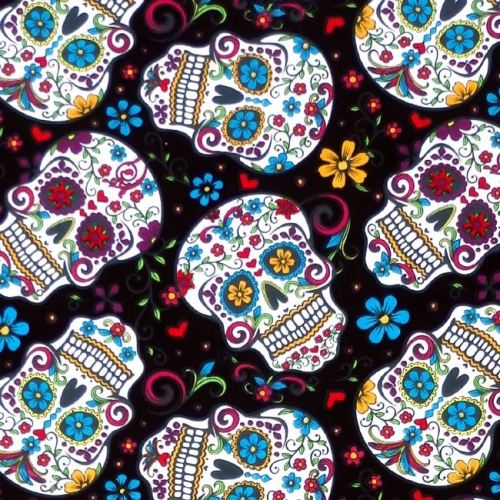 David Textiles FOLKLORIC SKULLS Fabric - Black