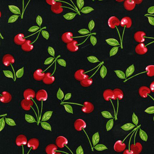 Robert Kaufman CHERRY FRUIT BASKET Fabric - Black