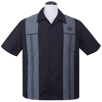 Steady Clothing Snake Stitch Panel Button Up Shirt - Black