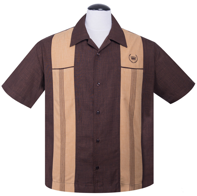 Steady Clothing Snake Stitch Panel Button Up Shirt - Brown