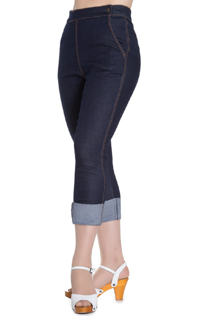 Hell Bunny Ronnie Denim Capris - Blue