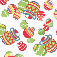 Windham SOUTH OF THE BORDER Pots Fabric - White