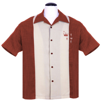 Steady Clothing Contrast Crown Button Up Shirt - Rust