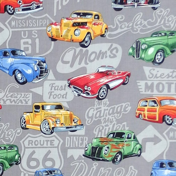 Nutex HOT RODS Fabric - Grey