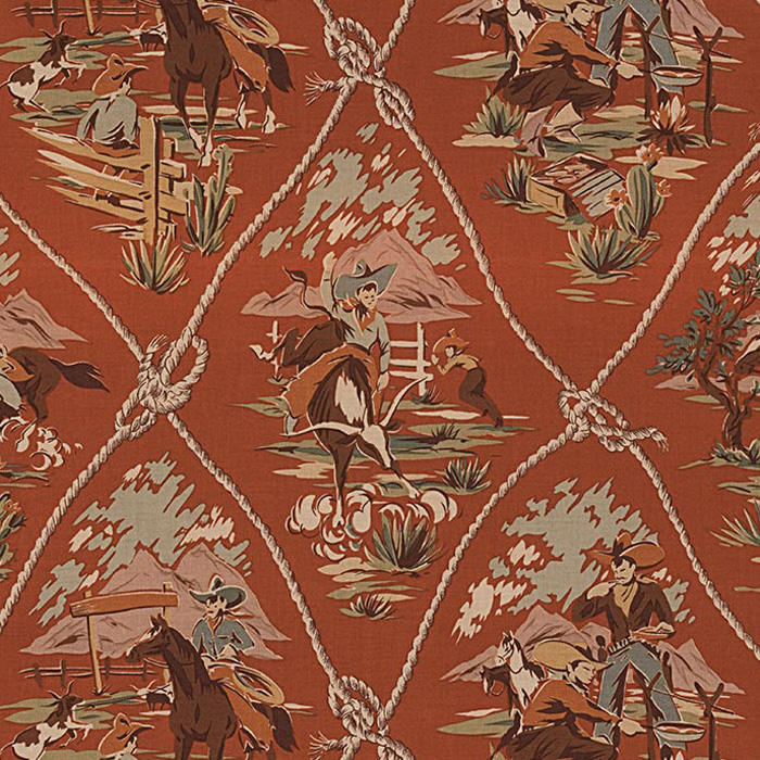 Alexander Henry ROPING RANCH SCENIC Fabric - Clay