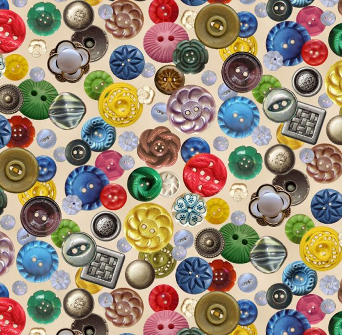 Elisabeth's Studios A STITCH IN TIME Buttons Fabric - Cream