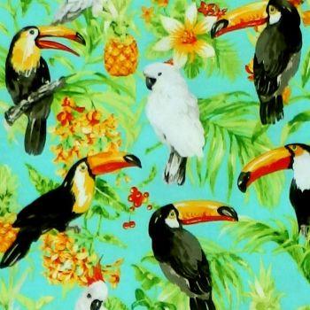 Oasis ISLE - TROPICAL BIRDS Fabric - Aqua