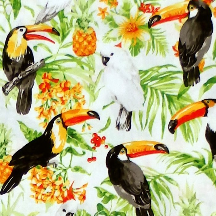 Oasis ISLE - TROPICAL BIRDS Fabric - White