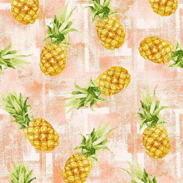 Oasis ISLE - TROPICAL PINEAPPLES Fabric - Coral / Pink