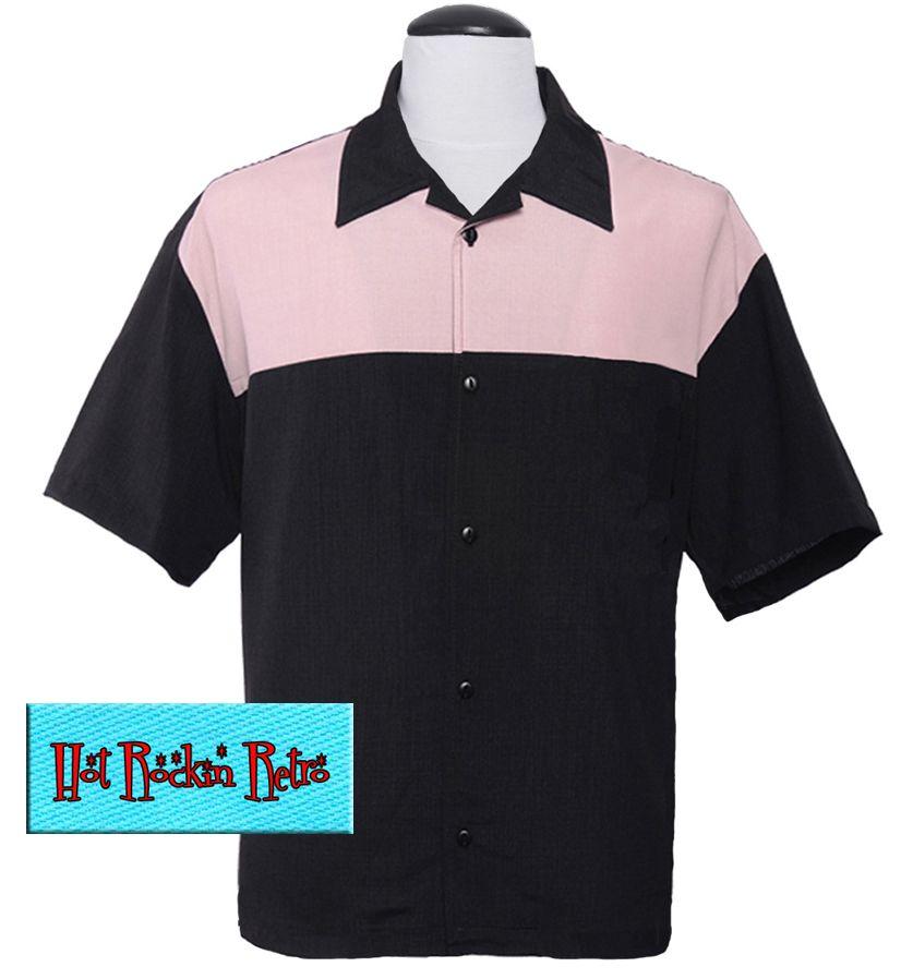 Hot Rockin Retro Chest Yoke Button Up Shirt - Black / Pink