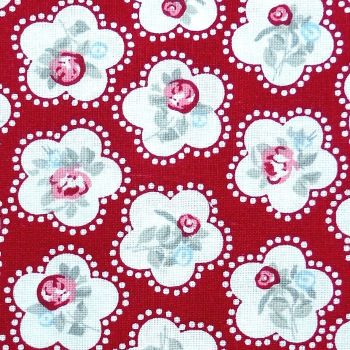 Chatham Glyn DAINTY FLOWERS Fabric - Red