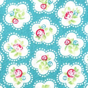Chatham Glyn DAINTY FLOWERS Fabric - Teal