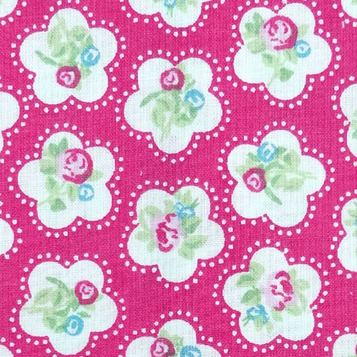 Chatham Glyn DAINTY FLOWERS Fabric - Hot Pink