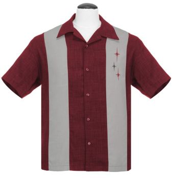 Steady Clothing VINTAGE bowling shirt-The Crosshatch Marron