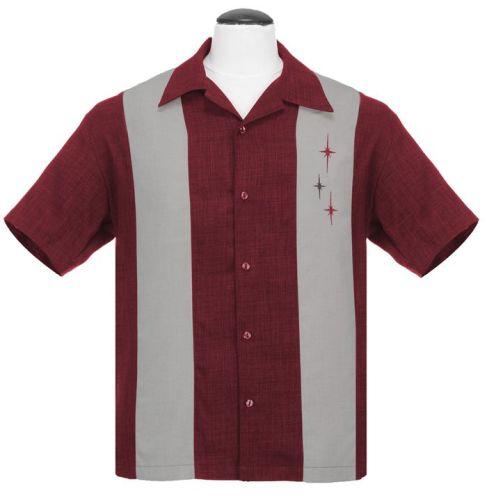 Steady Clothing Three Star Panel Button Up Shirt - Burgundy