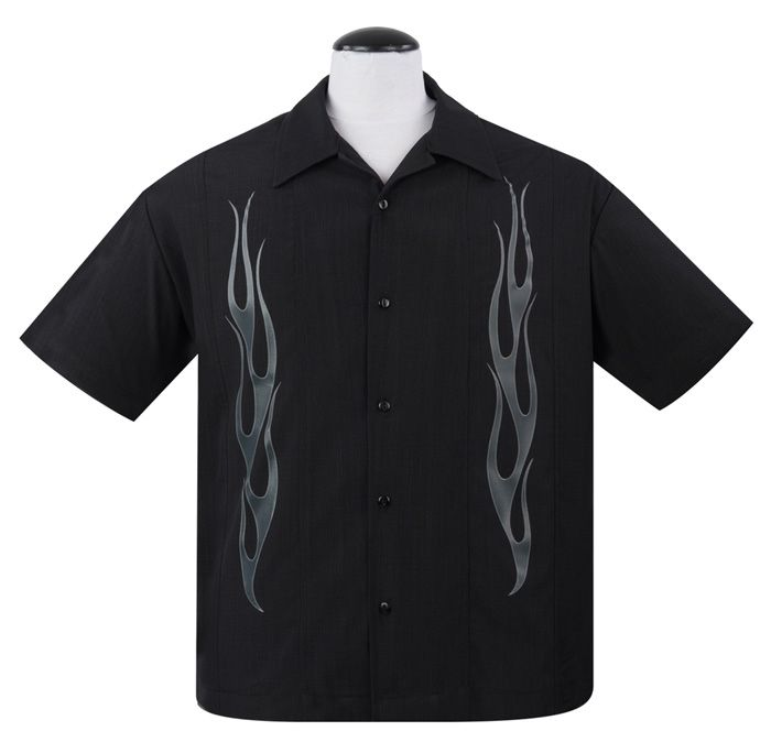 Steady Clothing Flame N Hot Button Up Shirt - Charcoal