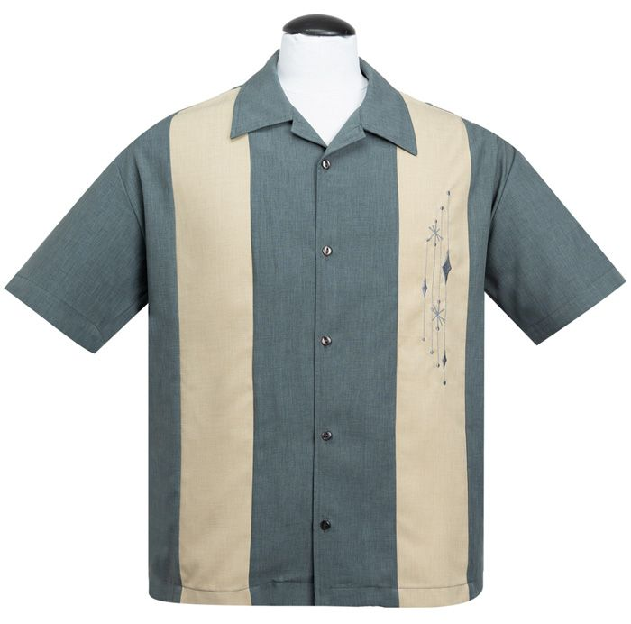 Steady Clothing Mid Century Marvel Button Up Shirt - Charcoal