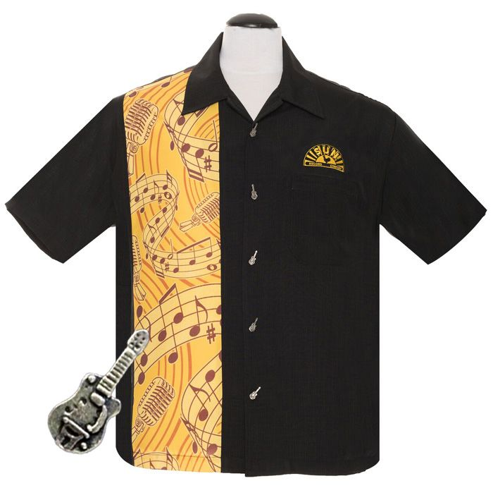 Steady Clothing Sun Records Music Notes Button Up Shirt - Black