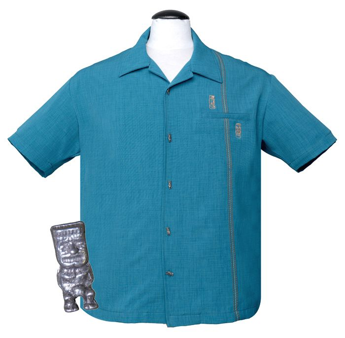 Steady Clothing Tiki Retro Stitch Button Up Shirt - Teal